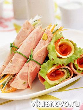 Мясные закуски, рецепты холодных закусок из мяса.